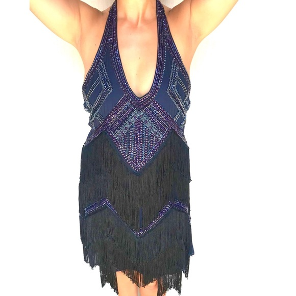 fe6aa2582dd8 Haute Hippie Dresses | Beaded Fringe Flapper Dress Med Large | Poshmark